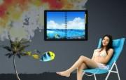 Photoshop 创意设计 休闲海滩图片 Photoshop 创意缤纷办公生活主题 插画壁纸