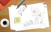 Photoshop 创意设计 明信片壁纸 Photoshop 创意缤纷办公生活主题 插画壁纸