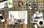 Photoshop 创意设计 黑白照片图片 Photoshop 创意缤纷办公生活主题 插画壁纸