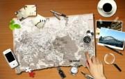 Photoshop 创意设计 旅游地图图片 Photoshop 创意缤纷办公生活主题 插画壁纸