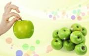 青苹果 PSD设计壁纸 PSD清新蔬果蔬果PS设计壁纸 插画壁纸