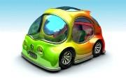 可爱3D 小汽车 卡通小汽车壁纸 趣味3D 卡通设计壁纸 插画壁纸