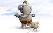 可爱卡通大象 3D 大象壁纸 趣味3D 卡通设计壁纸 插画壁纸