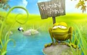 可爱3D动物 3D青蛙王子壁纸 趣味3D 卡通设计壁纸 插画壁纸