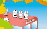 日本卡通壁纸 Cat Walk散步的猫 散步的猫卡通壁纸 Desktop Wallpaper of Cat Walk Cartoon 日本卡通壁纸Cat Walk散步的猫 插画壁纸