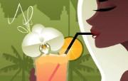 矢量时尚人物壁纸 Desktop Wallpaper of Vector Illustration of Young Woman 矢量时尚人物插画壁纸 插画壁纸