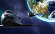 宇宙探索 太空与航天艺术图 第二辑 宇宙太空CG插画 地球 穿梭机图片 1920 1200 宇宙探索太空与航天CG插画二 插画壁纸