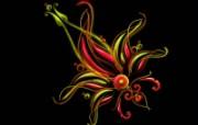高清黑底炫彩花纹壁纸 创意壁纸