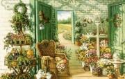 古典浪漫花园手绘壁纸 创意壁纸