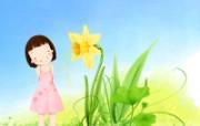 韩国儿童插画 可爱小女孩 创意壁纸