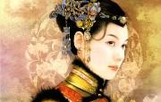 清朝女子绘画壁纸 创意壁纸