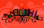 矢量花纹城市 创意壁纸