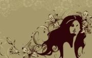 矢量女人花壁纸 矢量女人花壁纸 创意壁纸