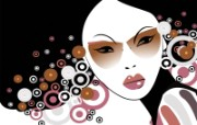 矢量女性插画 创意壁纸