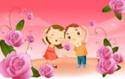 可爱矢量风格卡通爱情宽屏壁纸 壁纸14 可爱矢量风格卡通爱情 动漫壁纸