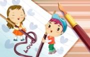可爱矢量风格卡通爱情宽屏壁纸 壁纸21 可爱矢量风格卡通爱情 动漫壁纸