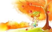 秋天的童话 橙色卡通宽屏壁纸 壁纸1 秋天的童话 橙色卡通 动漫壁纸