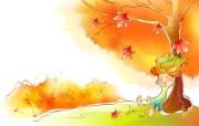 秋天的童话 橙色卡通宽屏壁纸 壁纸5 秋天的童话 橙色卡通 动漫壁纸