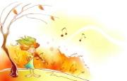 秋天的童话 橙色卡通宽屏壁纸 壁纸9 秋天的童话 橙色卡通 动漫壁纸