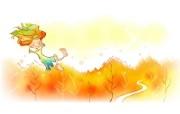 秋天的童话 橙色卡通宽屏壁纸 壁纸11 秋天的童话 橙色卡通 动漫壁纸