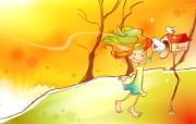 秋天的童话 橙色卡通宽屏壁纸 壁纸14 秋天的童话 橙色卡通 动漫壁纸