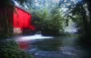 大自然纯朴之美 树林里的红色小屋壁纸图片壁纸 大自然纯朴之美 风景壁纸