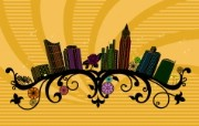 矢量花纹城市桌面壁纸 风景壁纸