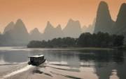 Windows 7世界名胜高清壁纸 亚洲篇 中国桂林 黄昏的漓江 Li River at Dusk in Guilin China Windows 7世界名胜高清壁纸亚洲篇 风景壁纸