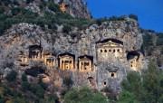 Windows 7世界名胜高清壁纸 亚洲篇 土耳其 古利西亚人的峭壁石棺 Ancient Lycian Rock Tombs Antalya Turkey Windows 7世界名胜高清壁纸亚洲篇 风景壁纸