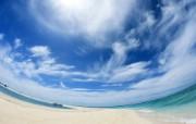 夏日海滩(蓝天白云海 风景壁纸