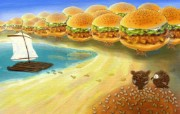 汉堡包的沙滩 肯德基广告壁纸 肯德基广告插画壁纸第一辑 广告壁纸