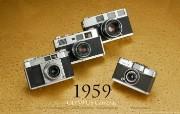 1959年的奥林巴斯古董相机 Olympus Cameras in 1959 Olympus 奥林巴斯70年经典相机壁纸上辑 广告壁纸