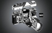 Olympus 奥林巴斯相机纪念壁纸 三 奥林巴斯OM 2 经典相机1975 Olympus OM 2 Camera Olympus 奥林巴斯相机三 广告壁纸