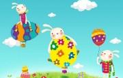 超可爱复活节卡通兔子壁纸 Pizzahut 节日主题卡通壁纸 广告壁纸