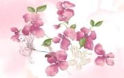 轻淡优美的花卉色彩图案 艺术风格花卉图案色彩 花卉壁纸