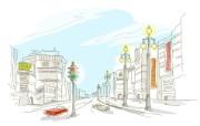 简笔城市风光 1 12 简笔城市风光 绘画壁纸