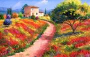 法国田园 手绘油画壁 绘画壁纸