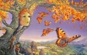 华丽幻想艺术 Josephine Wall 天国的精灵插画集 蝴蝶树 华丽奇幻精灵插画壁纸 华丽幻想艺术Josephine Wall 天国的精灵画集 绘画壁纸
