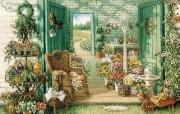 Janet Kruskamp 手绘《欢迎到我的花园来》 绘画壁纸