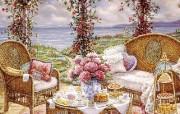 欢迎到我的花园来 Janet Kruskamp 绘画壁纸 下午茶 我的花园 Welcome to My Garden Janet Kruskamp 手绘《欢迎到我的花园来》 绘画壁纸