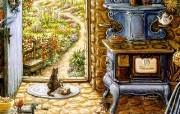欢迎到我的花园来 Janet Kruskamp 绘画壁纸 蓝色烤炉 我的花园 Welcome to My Garden Janet Kruskamp 手绘《欢迎到我的花园来》 绘画壁纸