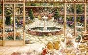 欢迎到我的花园来 Janet Kruskamp 绘画壁纸 日光浴室的下午茶 古典浪漫花园手绘壁纸 Janet Kruskamp 手绘《欢迎到我的花园来》 绘画壁纸