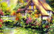 Jim Mitchell作品 cottage charm童话别墅 绘画壁纸