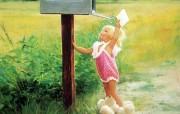 金色童年 二 法国画家 Donald Zolan 儿童水彩画集 特别的信 儿童水彩画壁纸 金色童年儿童水彩画壁纸二 绘画壁纸