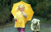 金色童年 二 法国画家 Donald Zolan 儿童水彩画集 雨天的伙伴 可爱小女孩水彩画图片 金色童年儿童水彩画壁纸二 绘画壁纸