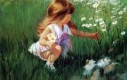 金色童年 二 法国画家 Donald Zolan 儿童水彩画集 摘菊花 可爱小女孩水彩画图片 金色童年儿童水彩画壁纸二 绘画壁纸