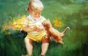 金色童年 二 法国画家 Donald Zolan 儿童水彩画集 猫咪的雪糕 趣味童年时光图片 金色童年儿童水彩画壁纸二 绘画壁纸