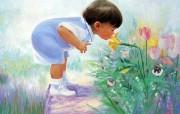 金色童年 二 法国画家 Donald Zolan 儿童水彩画集 闻闻花香 可爱儿童水彩画壁纸 金色童年儿童水彩画壁纸二 绘画壁纸