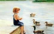 金色童年 二 法国画家 Donald Zolan 儿童水彩画集 夏日河畔 六一儿童节图片 金色童年儿童水彩画壁纸二 绘画壁纸