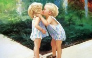 金色童年 二 法国画家 Donald Zolan 儿童水彩画集 双胞胎 六一儿童节图片 金色童年儿童水彩画壁纸二 绘画壁纸